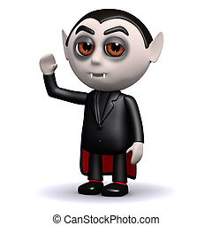 Hello 3d Dracula - 3d render of a waving Count Dracula