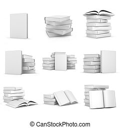 Collection of 3d white books