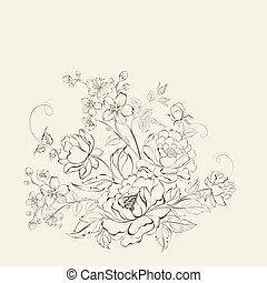 Flower bouquet of peony and sakura flowers illustration