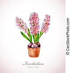casa, fiori, vaso, acquarello