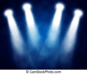 illustration of blue stage spotlights