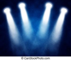 blaues, Scheinwerfer, abbildung, buehne