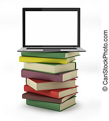 3d laptop on top of a pile of books
