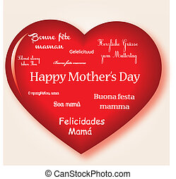 Happy mothers day - heart red with happy mothers day