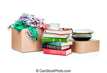 colored clothing in a box