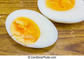 dois, Metades, fervido, ovo