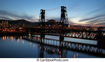 Portland OR Cityscape Blue Hour -...