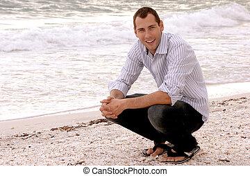 年輕, 成人, 肖像, 微笑, 男性, 海灘, 漂亮