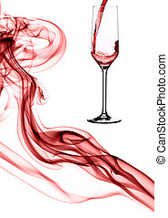 Composition of red smoke and champagne.