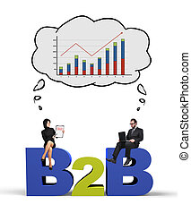 b2b and chart - businessman and businesswoman thinking at...