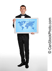 plasma with world map - happy businessman holding plasma...