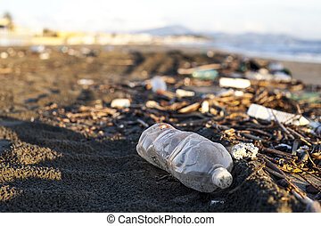 plastic water bottle on a beach - pollution, plastic water...