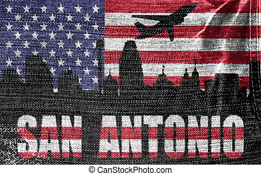 View of San Antonio City on the American flag on the jeans...