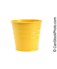 Yellow Flower Pot - New yellow empty flower pot isolated on...