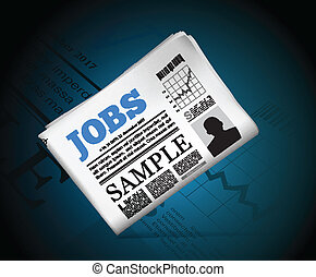 Jobs in newspaper with perforated edges and texture. Vector...