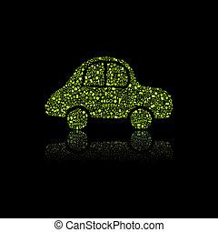 Green Car Icon. Pollution Concept.