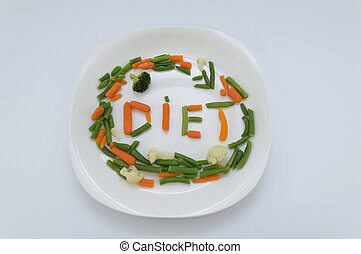 Healthy Diet - Healthy dish spelling the word diet in a...