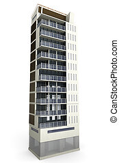 Modern Building - A contemporary modern urban building. 3D...