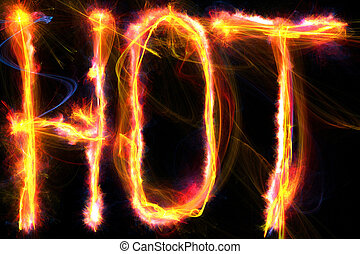 Hot - The word hot written in flames Digital illustration