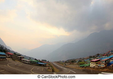 4K. sunset at the airport Lukla - 4K. Timelapse sunset at...
