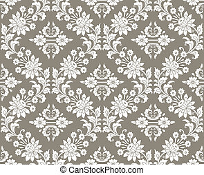 Floral damask seamless wallpaper
