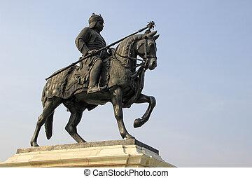 Warrior on Horse Back - Statue of Maharana Pratap with sword...