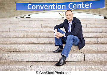 Convention attendee - Smart casually dressed attendee,...