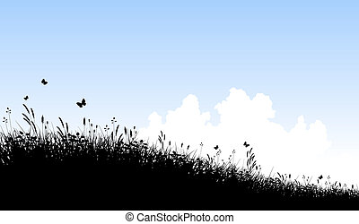 Meadow and sky - Editable vector silhouette of a grassy...