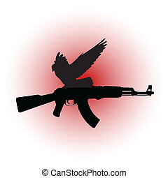 War Dove - A dove with a Kalashnikov in the talons