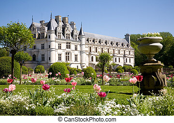 Chateau de Chenonceau from the gardens in Loire Valley,...