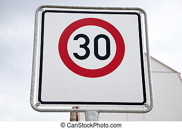 Red Thirty Speed Sign