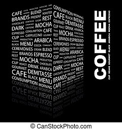 COFFEE. Word cloud concept illustration. Wordcloud collage.