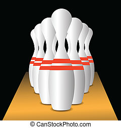 bowling pins - colorful illustration with bowling pins for...