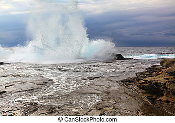 Huge Stormy Weather Ocean Splash - A huge wave splashes onto...