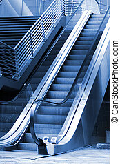 Escalera mecánica, escalera, exterior, empresa /...