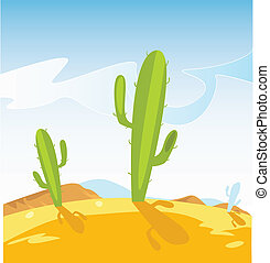 Western desert with Cactus plants - Western – style vector...