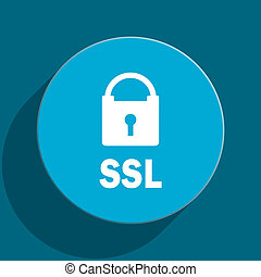 ssl blue flat web icon - blue web button