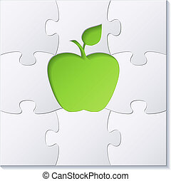 Puzzles and green apple concept vector