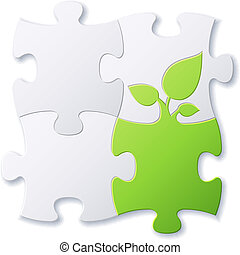 Puzzles and green leaf vector background file