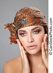 Caucasian beauty wearing a headscarf - Young caucasian...