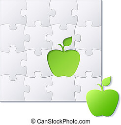 Puzzles and green apple concept vector background