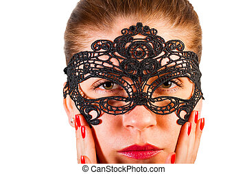 portrait of a girl in sexy lace mask