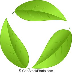 reciclagem, ícone, folhas