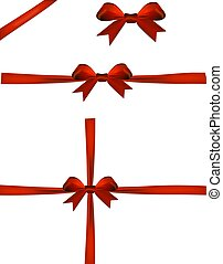 Set of christmas red bow isolated