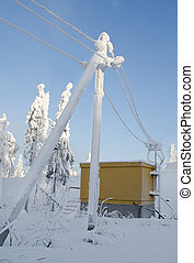 The frozen electric line - The frozen Tower of a electric...