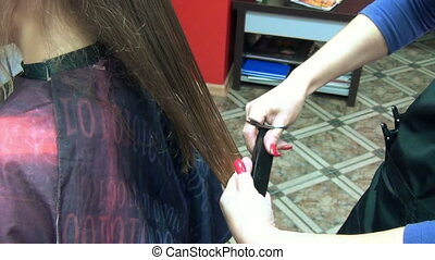 barber cut hair client - Closeup of barber woman hands with...