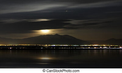 Moon Clouds Panning - High definition of the moon reflecting...