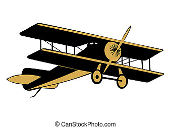 Vintage airplane - Cartoon silhouette of vintage airplane on...