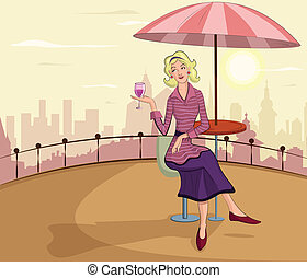 Retro lady with wine glass