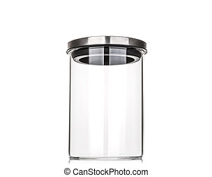 Empty glass jar with aluminum lid isolated on white...